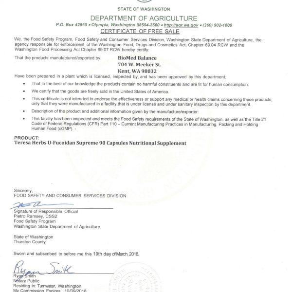 Washington license for Fucoidan